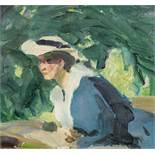 Hans Josef Weber-Tyrol* Lady in the park, c. 1910