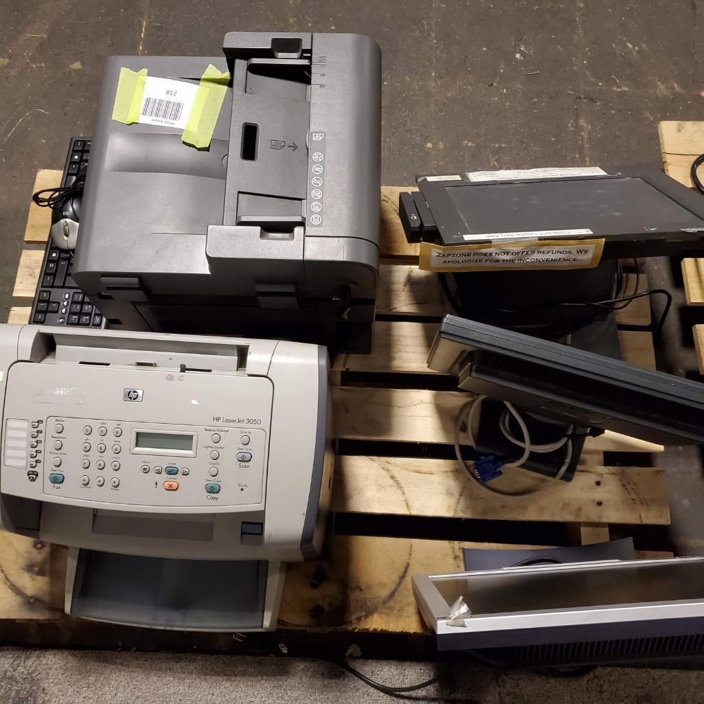 Lot 218 - Printers, monitors, miscellaneous. Used, shows commercial use. See pictures.