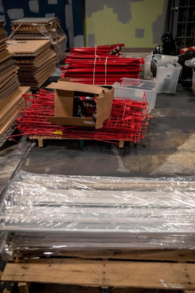 Lot 199 - Red Shelving - Form boxes to place larger items, such as balls.