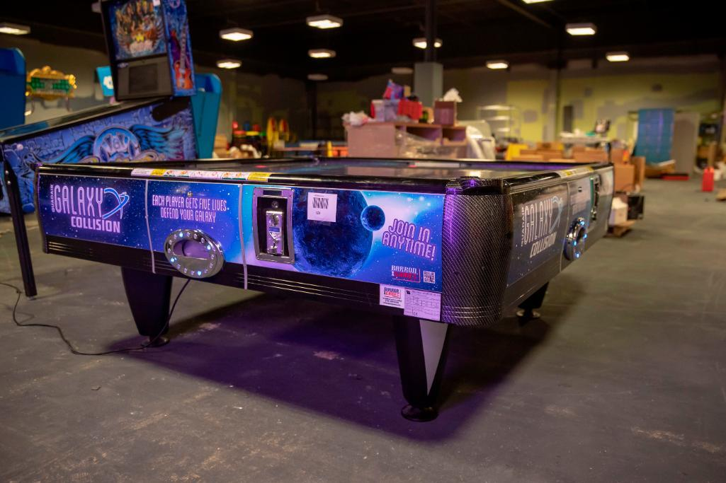 Lot 123 - Barron Galaxy Collision Quadair Air Hockey - Functional. Used, shows commercial use. See pictures.