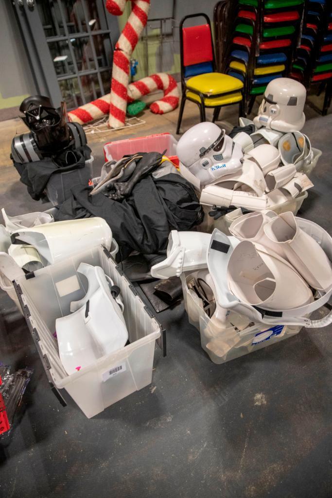 Lot 200 - Misc. costumes. Storm Troopers, Batman and Darthvader
