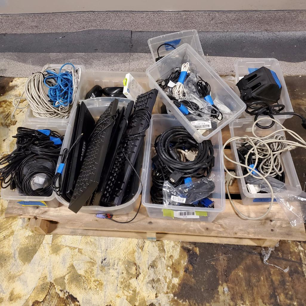 Lot 216 - Miscellaneous Cables, Keyboards. Used, shows commercial use. See pictures.