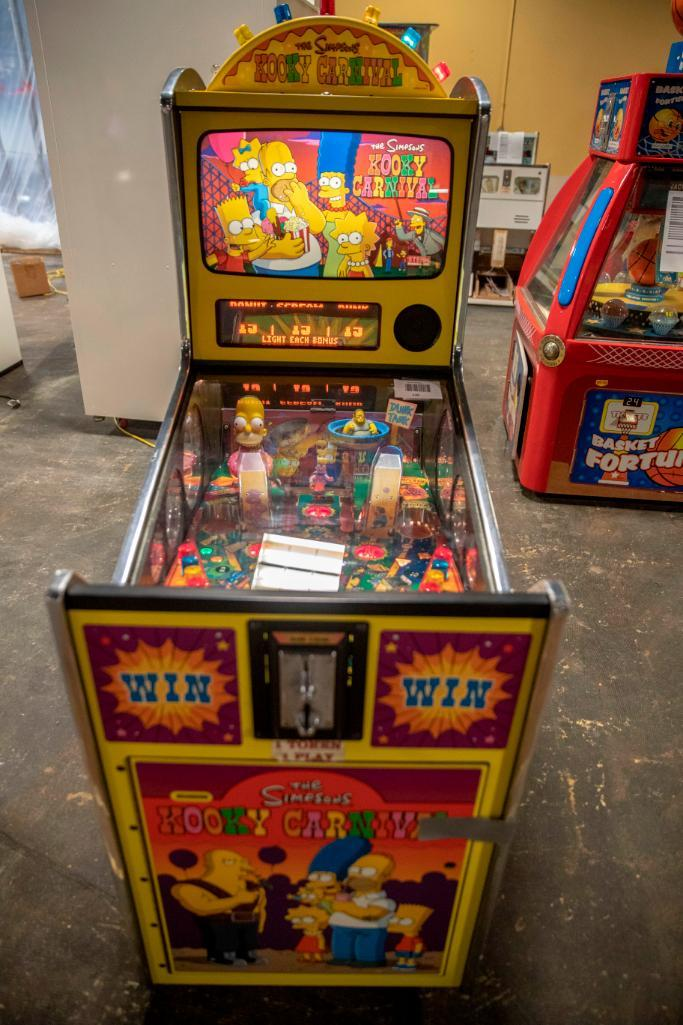 Lot 182 - The Simpsons Kooky Carnival by Stern - Functional. Used, shows commercial use. See pictures.
