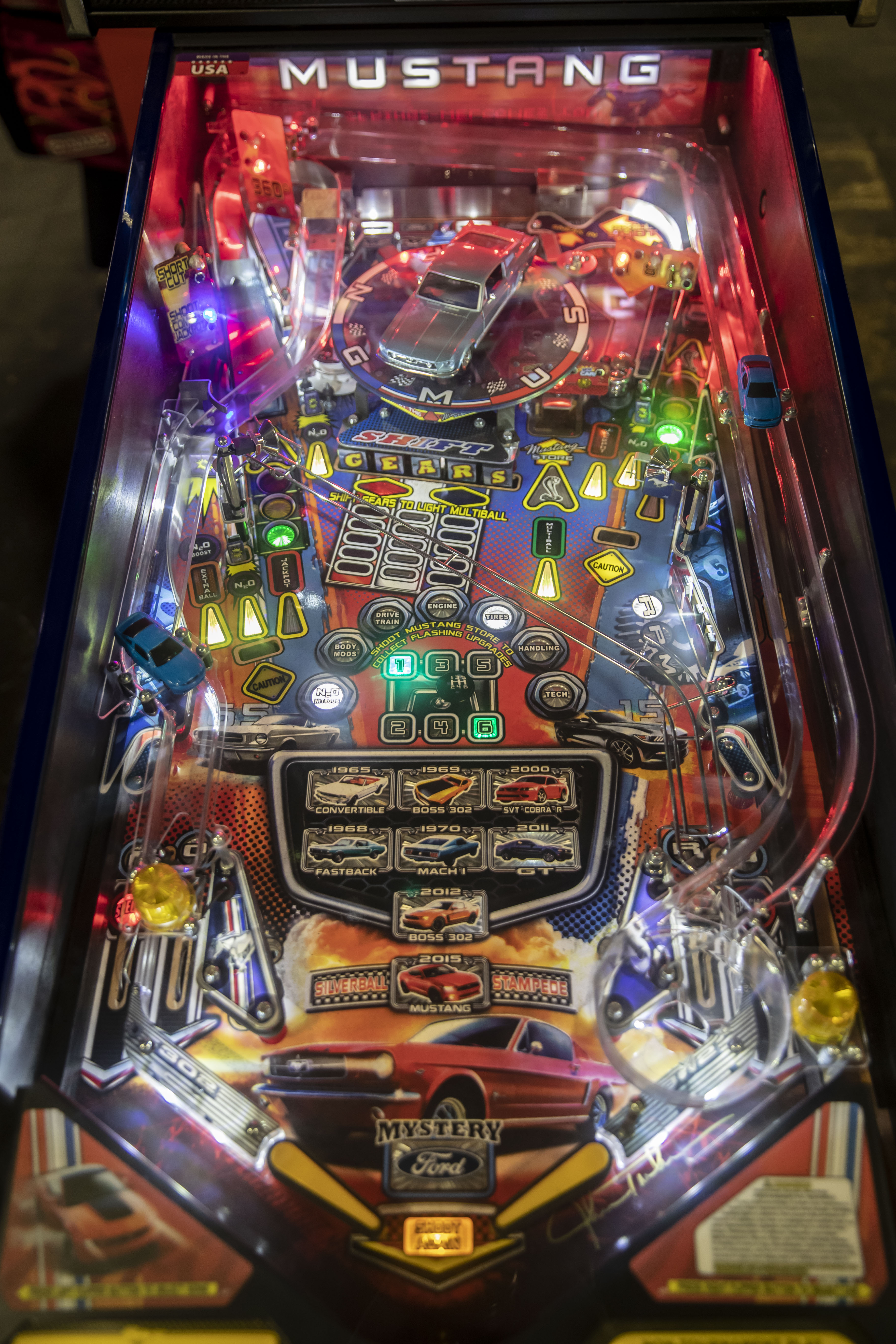 Lot 128 - Limited Edition #12 Stern Mustang Pinball - Functional. Used, shows commercial use. See pictures.