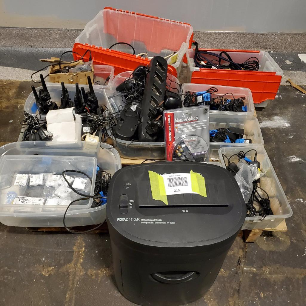 Lot 215 - Paper shredder, radios, misc. adaptors. Used, shows commercial use. See pictures.