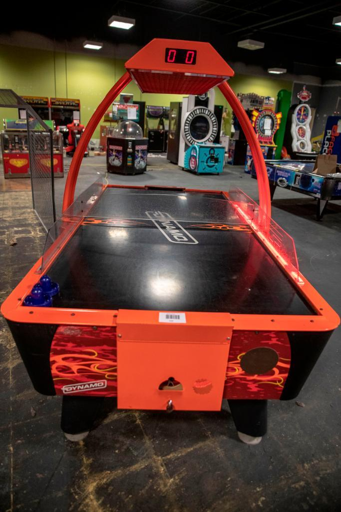 Lot 134 - Dynamo Fire Storm Airhockey with overhead - Functional. Used, shows commercial use. See pictures.