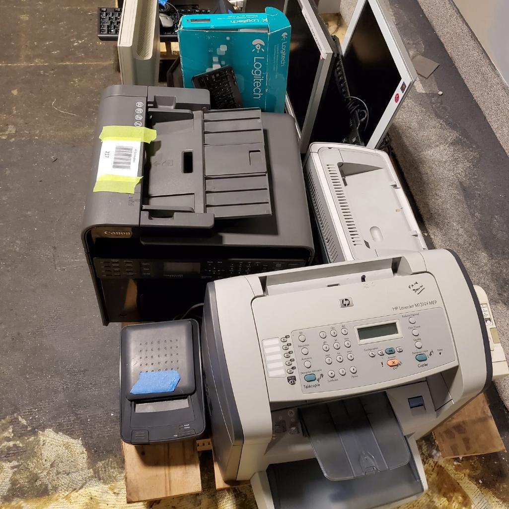 Lot 217 - Printers, monitors, miscellaneous. Used, shows commercial use. See pictures.