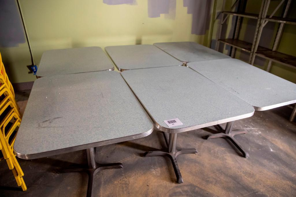 Lot 107 - 6 heavy duty dining tables. Used, shows commercial use. See pictures.