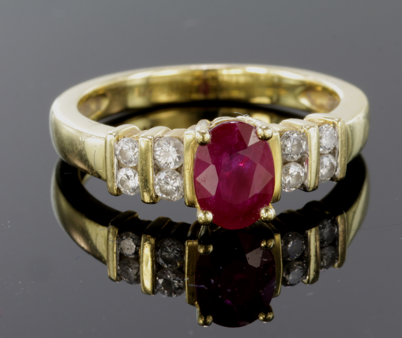 Lot 11 - 18ct Gold Ring set with Ruby and Diamonds size L weight 4.5g