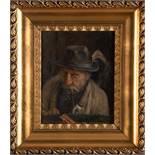 Maler des 19./20. Jhs. Pfeifenraucher. Öl/Lw., re./u. unleserlich sign., gerahmt, 30,5 x 24,5 cm.
