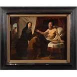 Maler des wohl 17. Jhs. Hl. Paulus mit Gläubigen. Öl/Holz, gerahmt, 49 x 63,5 cm. (besch.)