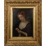 Maler des 19. Jhs. Mädchenportrait mit Blüte. Öl/Lw., li./u. unleserlich sign./dat. (18)86, 30,5