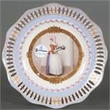 """Dessertteller """"Englisch Glatt"""". Berlin 19. Jh. Porzellan, bunt bemalt und gold staffiert, D=24,5 c"""