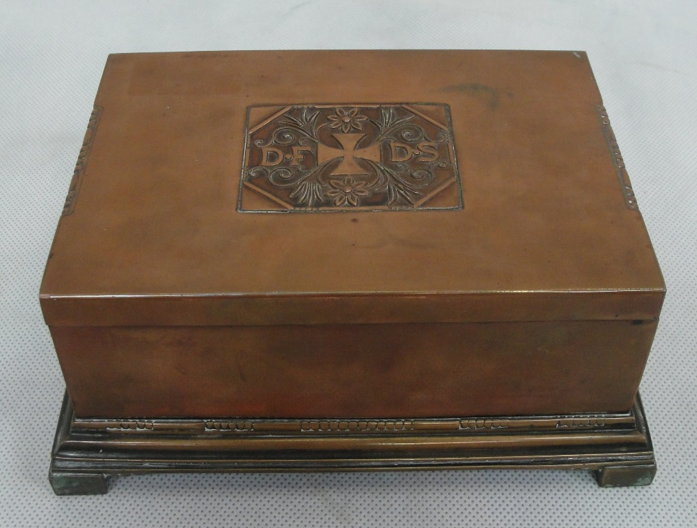 a georg jensen johan rhode copper cigar box for dfds c1916 designed by j rhode in 1916 to comme. Black Bedroom Furniture Sets. Home Design Ideas