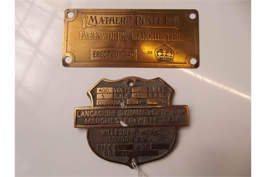 Mather & Platt Ltd Lancaster dynamo and crypto machine plaques