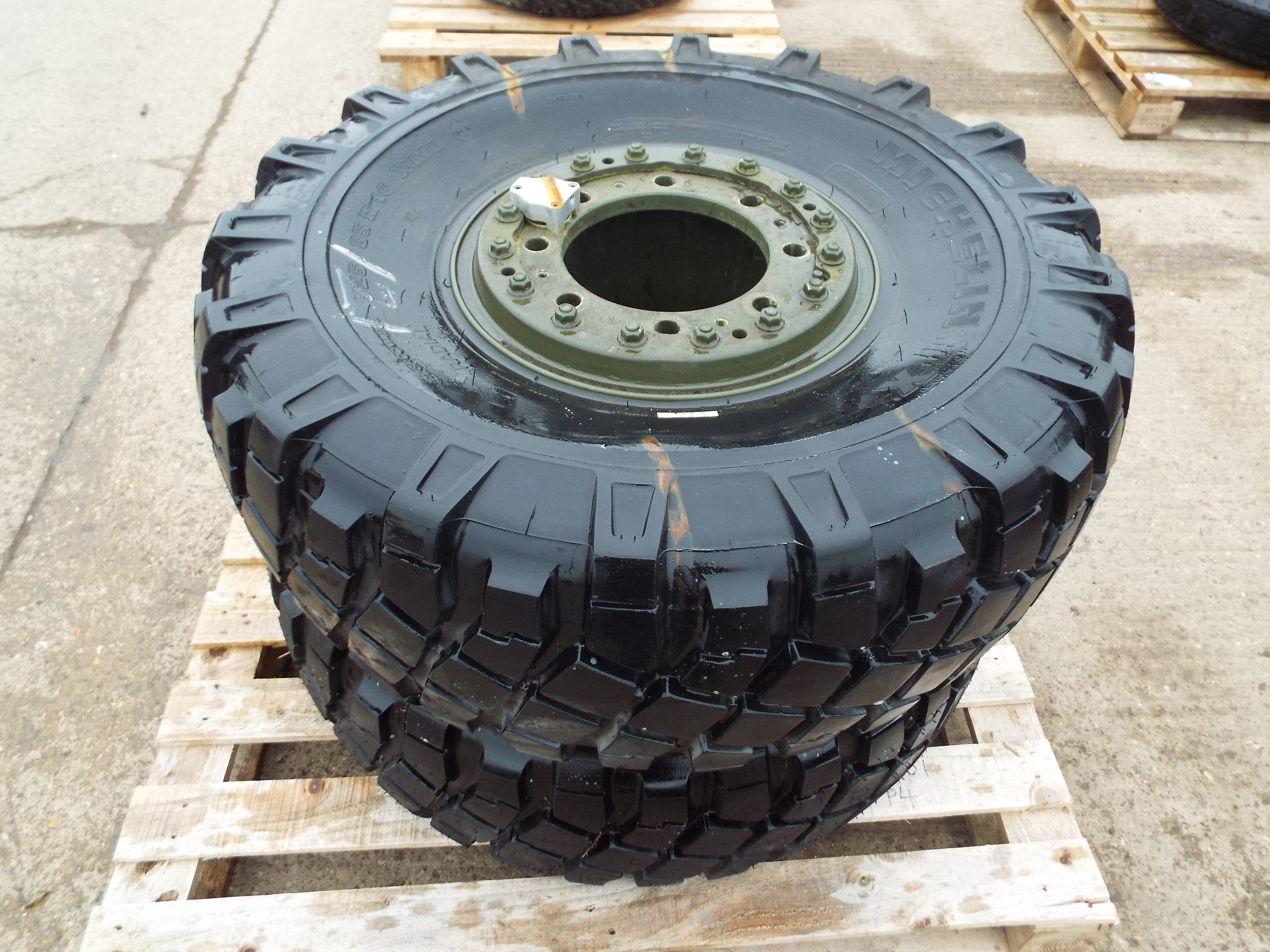 Lot 14208 - 2 x Michelin XML 325/85 R16 Tyres with 8 Stud Rims