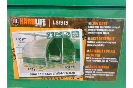 Lot 26811 - Heavy Duty Gated Livestock Shelter 13'W x 13'L x 10' H P/No LS1313