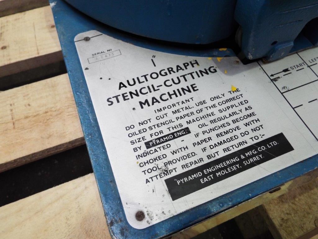 """Aultograph 1"""" Stencil Cutting Machine Fed - Image 3 of 6"""