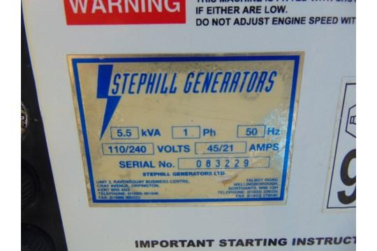 Lot 25839 - Stephill 5.5 KVA Diesel Generator Set