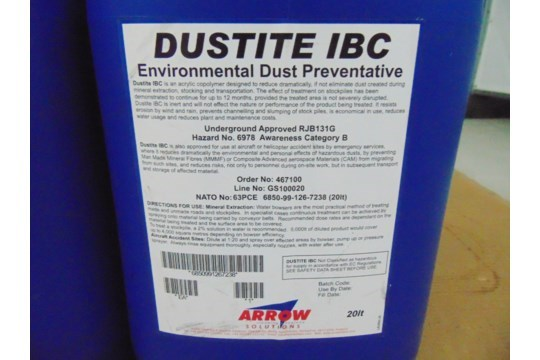 Lot 26607 - 5 x Unissued 20L Tubs of Dustite IBC Environmental Dust Preventative