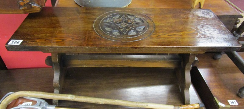 Lot 296 - Carved top oak coffee table