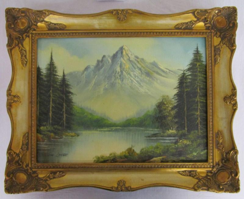 Lot 92 - Oil painting - Mountain scene signed Joachim Lange