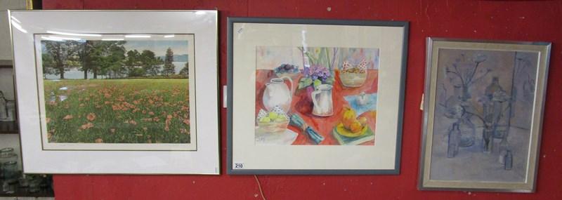 Lot 210 - L/E signed print, watercolour & oil on board