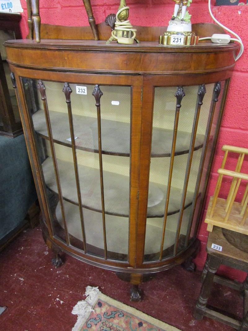 Lot 232 - Walnut display cabinet on ball & claw feet
