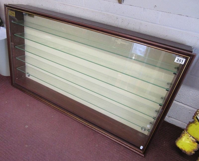 Lot 251 - Glass fronted display case with glass shelves