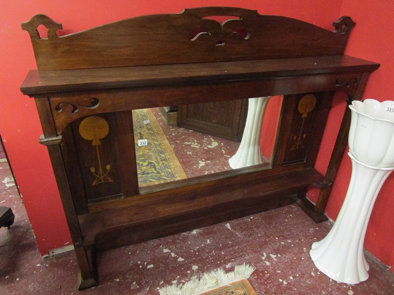 Lot 332 - Inlaid mahogany overmantle mirror (originally had Liberty's of London label)