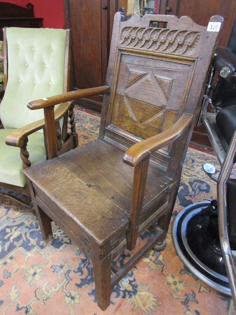 Lot 329 - Early oak Wainscot chair