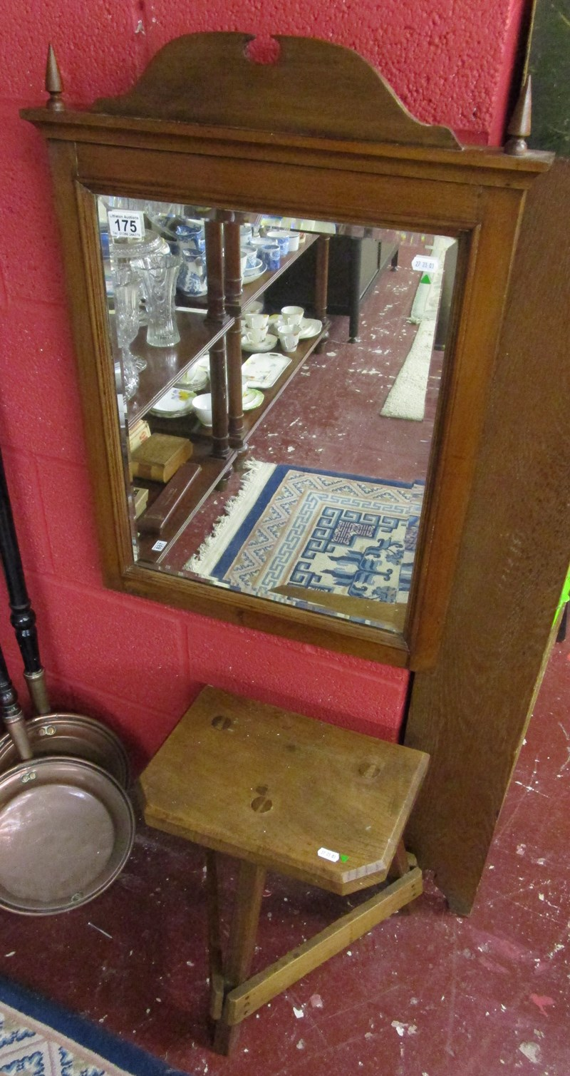 Lot 175 - Bevelled glass mirror & jeweller's stool