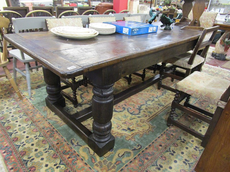 Lot 310 - Early oak refectory table - L: 250cm W: 96cm H: 78cm