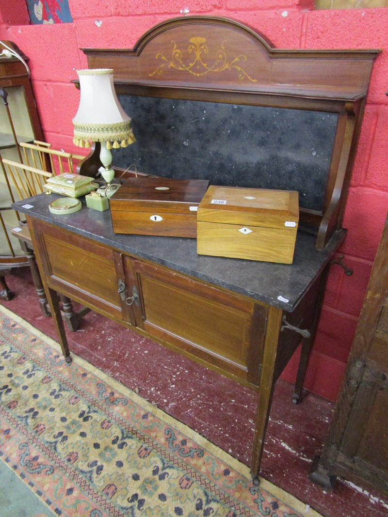 Lot 237 - Marble top inlaid washstand