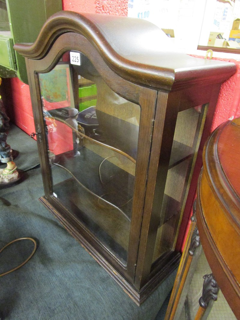 Lot 225 - Small oak glass front display cabinet