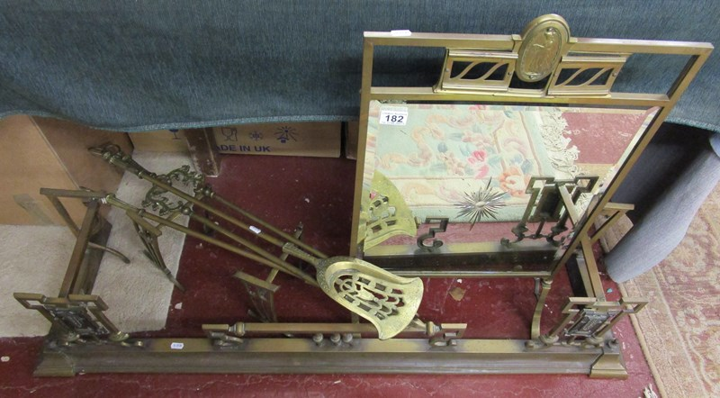 Lot 182 - Arts & Crafts fireside set to include fender, fire screen & companion set