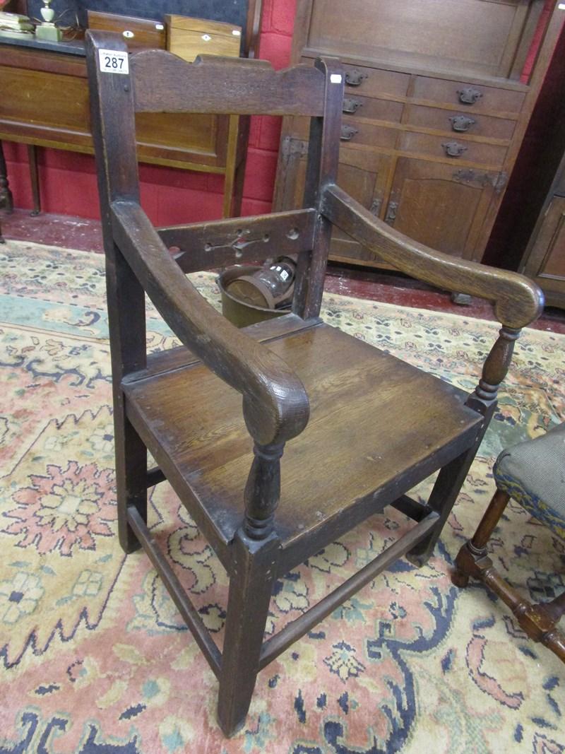 Lot 287 - Antique oak armchair