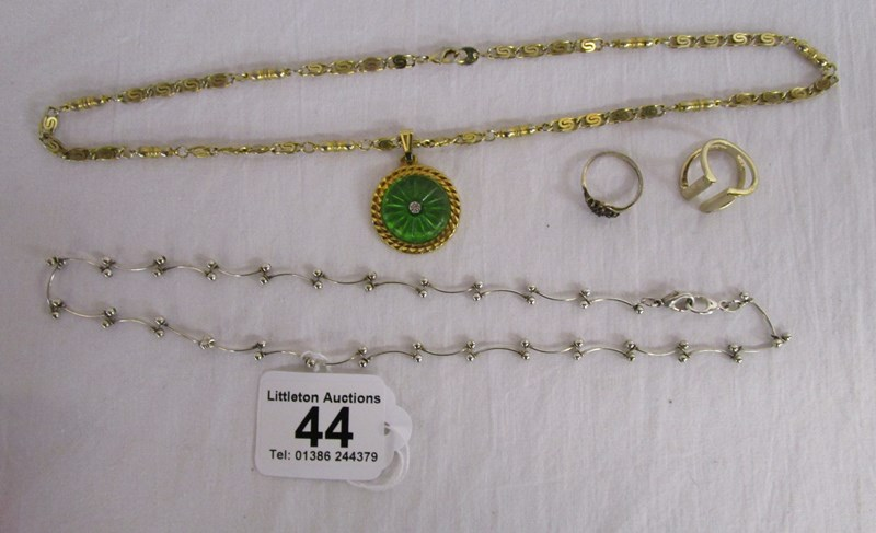 Lot 44 - Collection of costume jewellery to include garnet silver ring and silver necklace