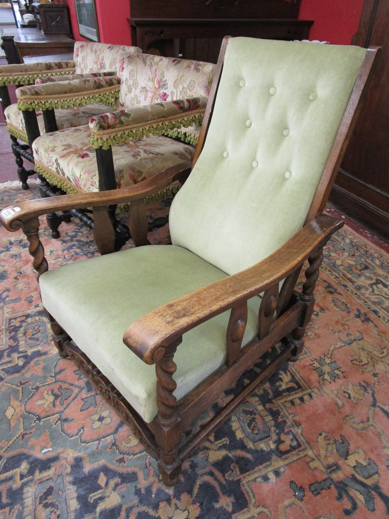 Lot 330 - Upholstered barley-twist reclining armchair