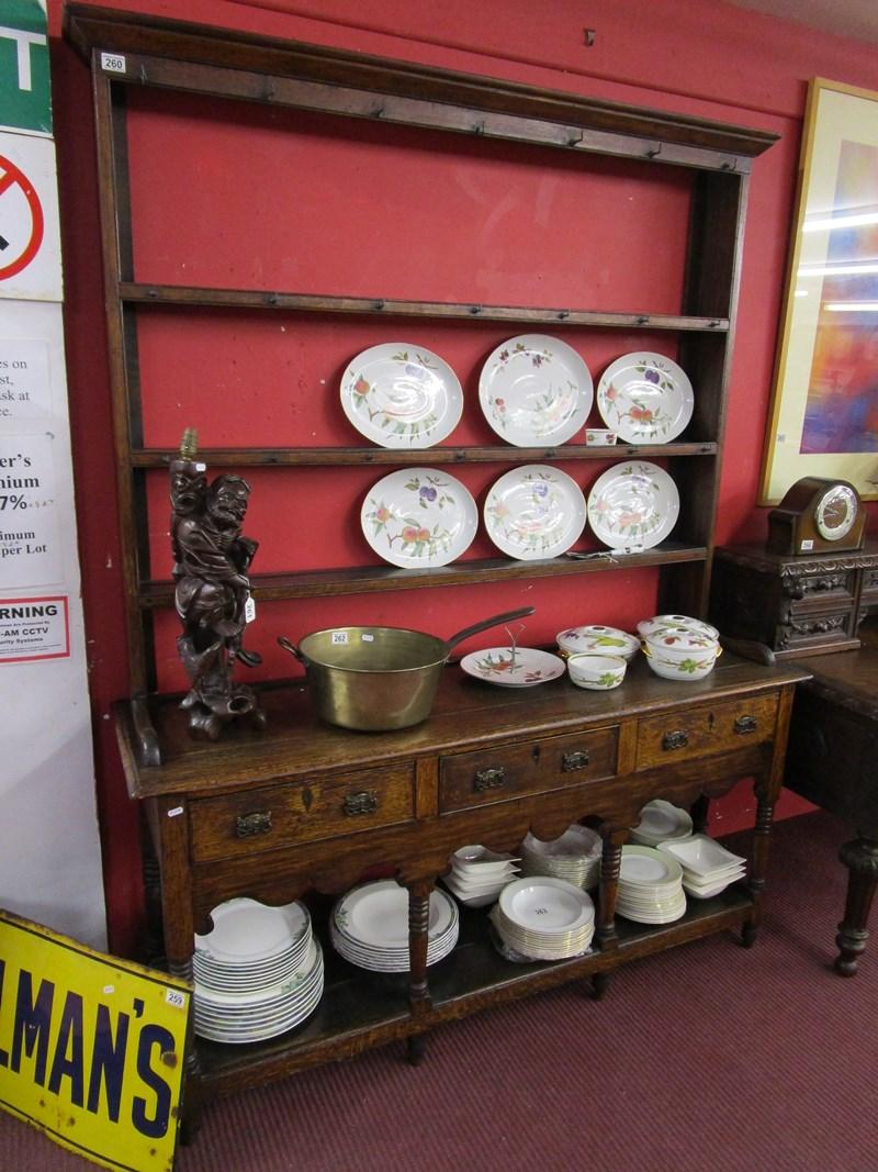 Lot 260 - Early oak 3 drawer dresser with rack
