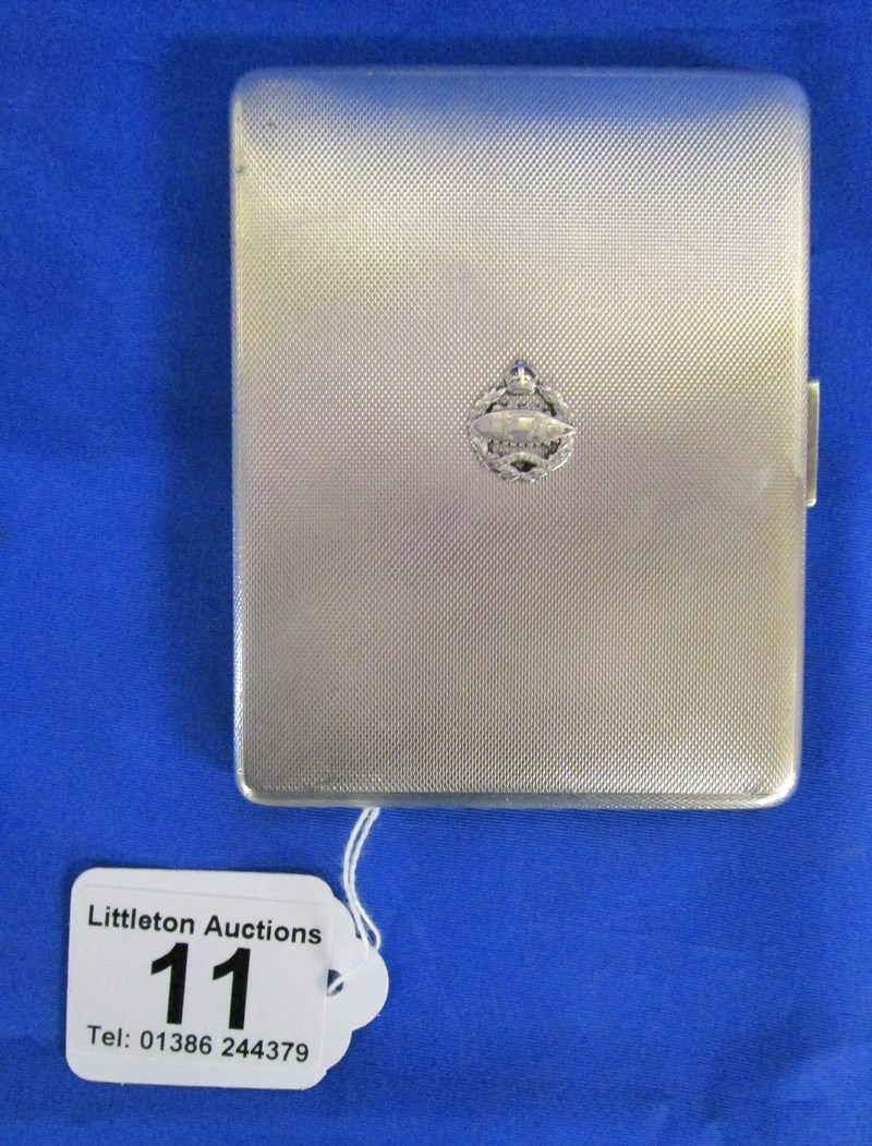 Lot 11 - Silver cigarette case with Royal Tank Regiment insignia