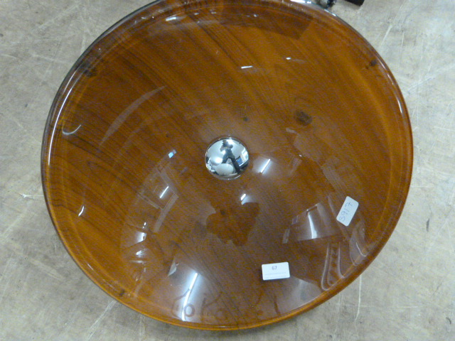 Lot 67 - *Round Wood Effect Glass Sink