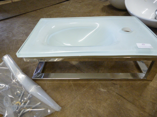Lot 43 - *Small White Glass Rectangular Sink