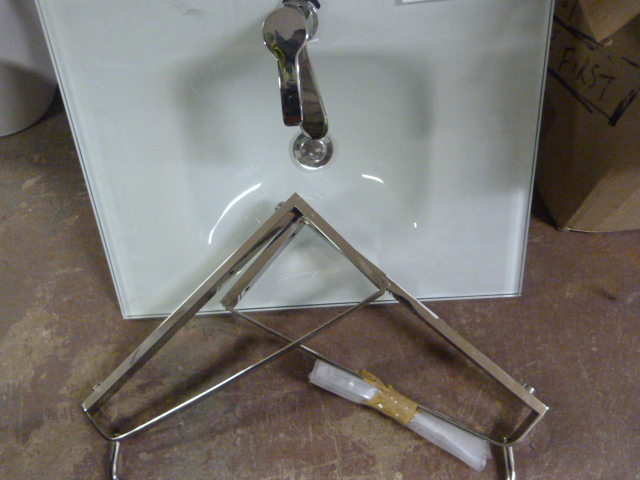 Lot 348 - *Green Tinted Glass Sink with Tap and Chrome Frame
