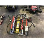 (X4) HYDRAULIC HAND PUMPS, (1) ENERPAC P80, (1) POWERTEAM P157, & (2) POWERTEAM P59