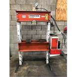 POWERTEAM 55-TON H-FRAME SHOP PRESS, S/N SPE5513DS, 36'' BETWEEN POSTS, 2 HP HYDRAULIC POWER UNIT,