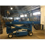 Up-Right-Inc battery powered scissor lift. Model 6300-B, serial 3027, 20 ft height