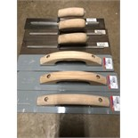 (6) brand new wood handled steel and smooth trowels