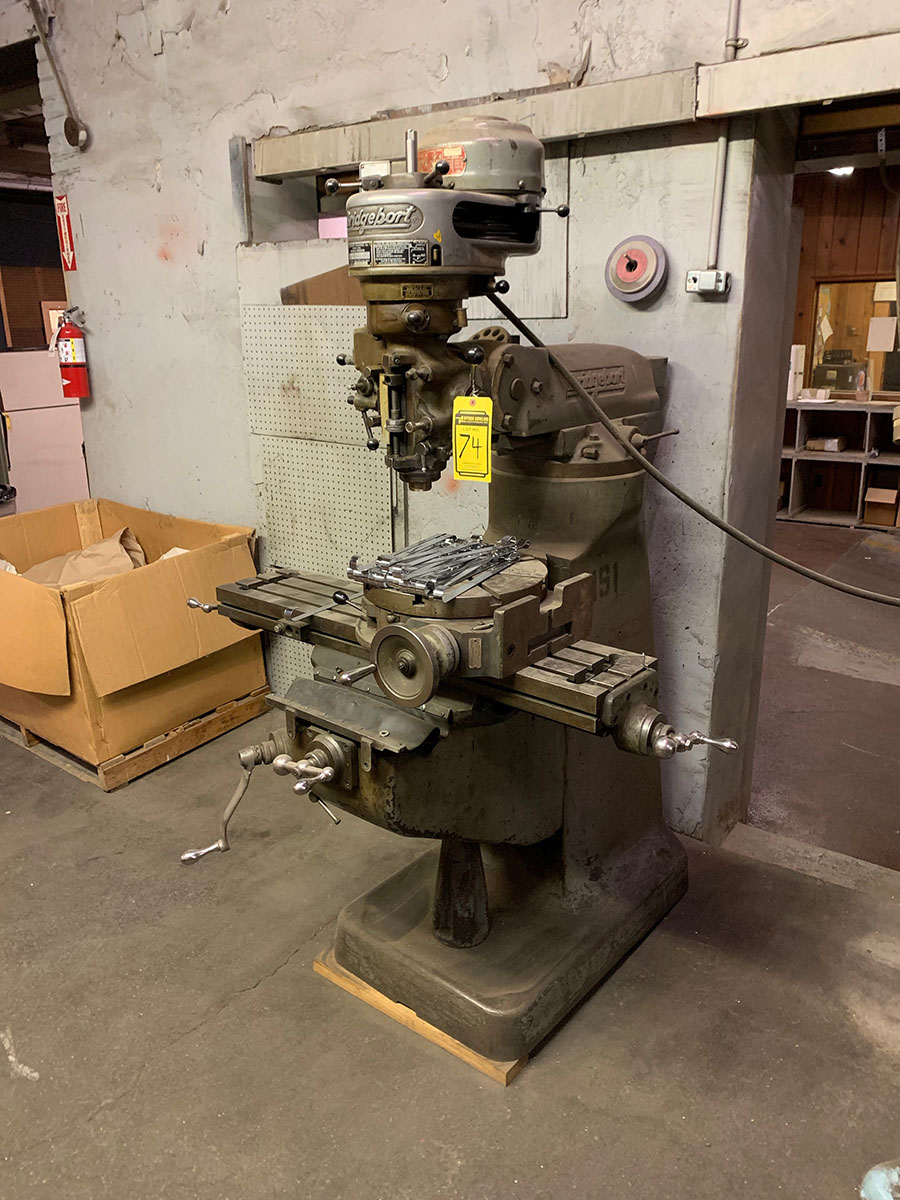 BRIDGEPORT 1-HP VERTICAL MILL; 9'' X 42'' TABLE, WITH 15 TROYKE ROTARY TABLE, S/N J44115