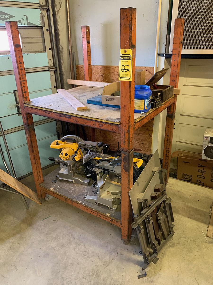 (2) 37'' X 40'' STACKABLE RACKING WITH DEWALT COMPOUND MITER SAW PARTS